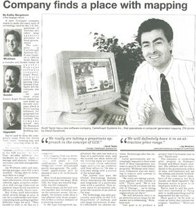 "Cartegraph Archive 1995 Dubuque Telegraph Herald Article: ""Company finds a place with mapping"""