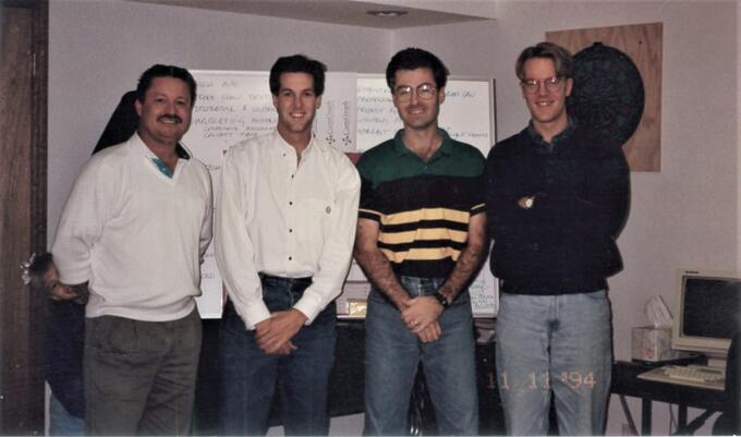 Left to right: Cartegraph founders Rick Goodin, Jay Wickham, Scott Taylor, and Mark Oppedahl (1994)