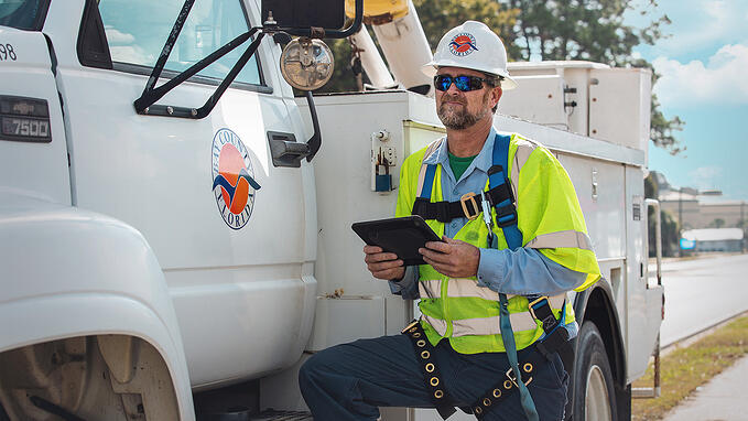 Bay County field professional using Cartegraph asset management app for iPad