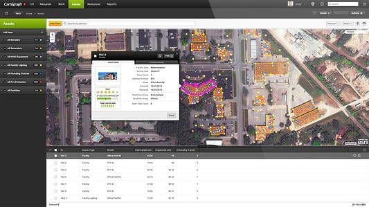 Cartegraph OMS on desktop, facilities GIS view