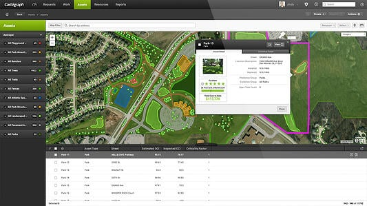 Cartegraph OMS on desktop, park assets overview