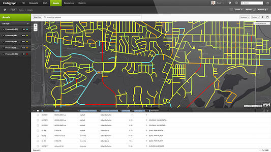 Cartegraph OMS on desktop, pavement infrastructure condition GIS view
