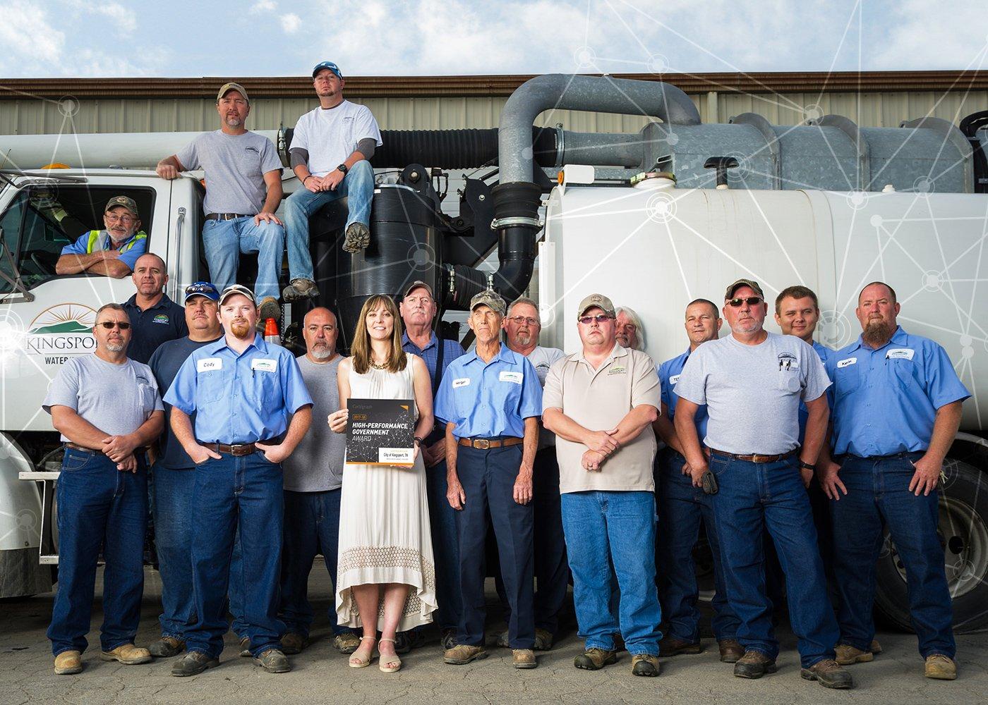 Municipal water utility crew