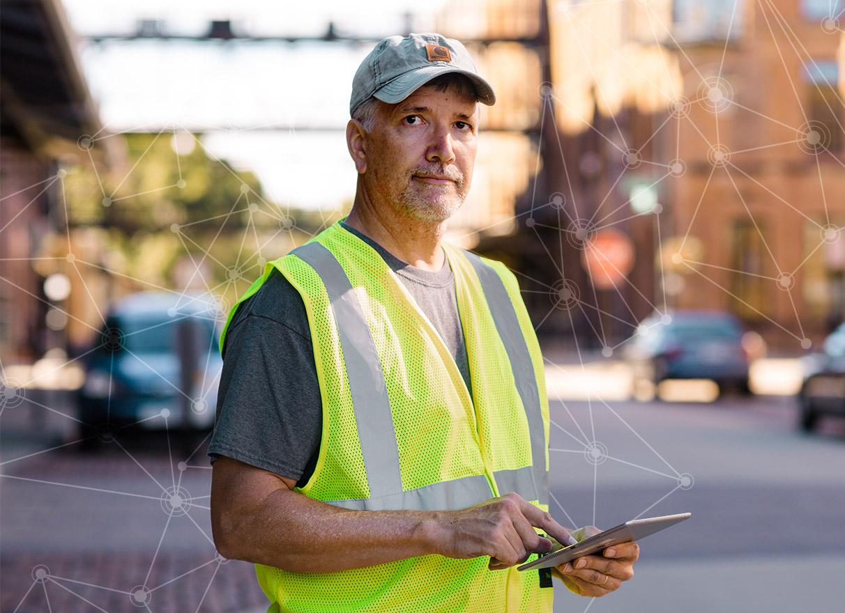 City and county field professional using Cartegraph sidewalk and ADA ramp management app