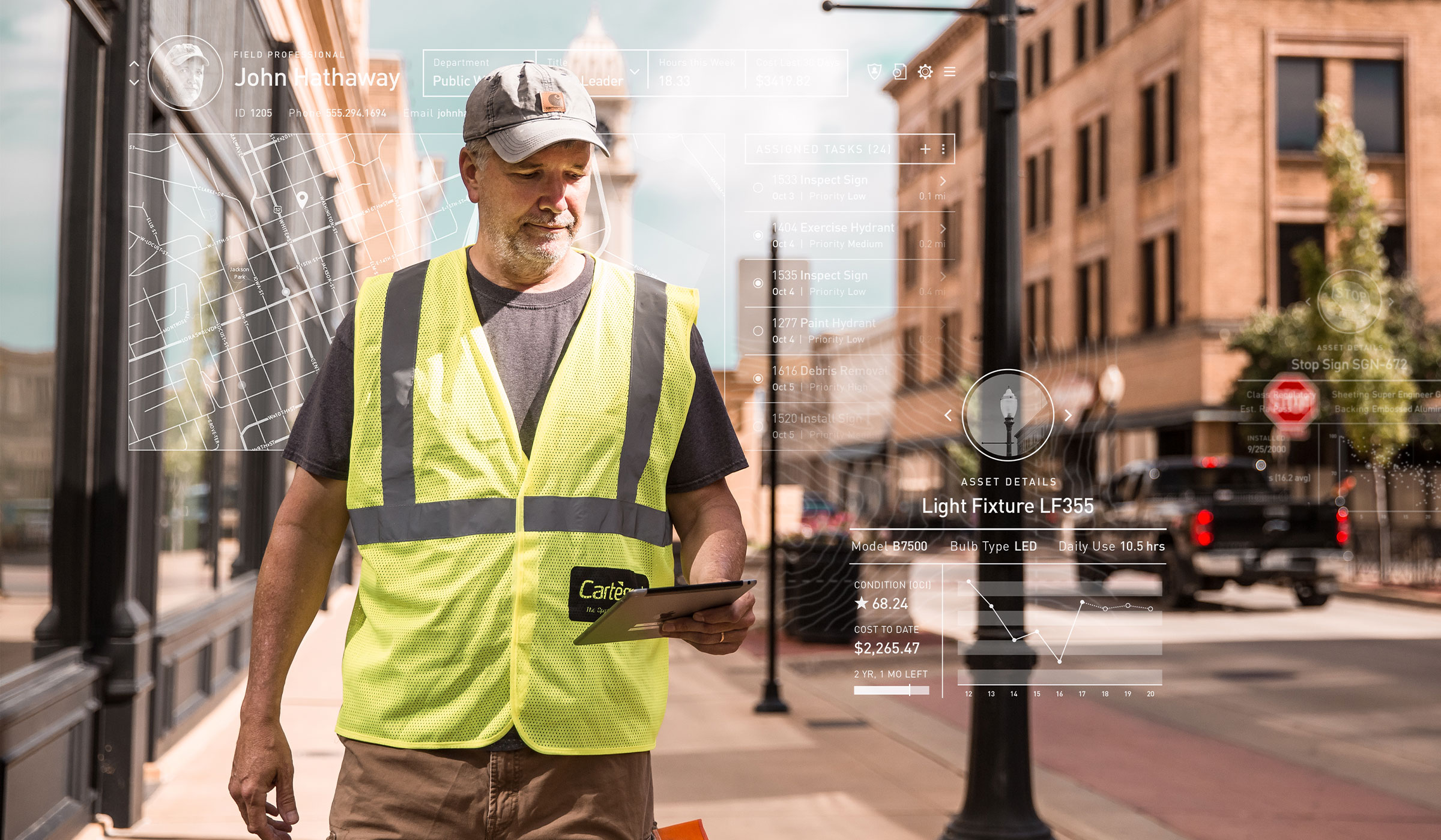 Field professional in downtown Dubuque, IA with Cartegraph One for iPad