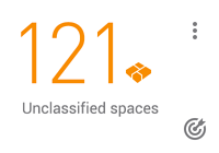 KPI card: 121 unclassified spaces