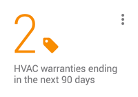 KPI card: 2 HVAC warranties ending in the next 90 days