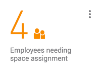 KPI card: 4 employees needing space assignment
