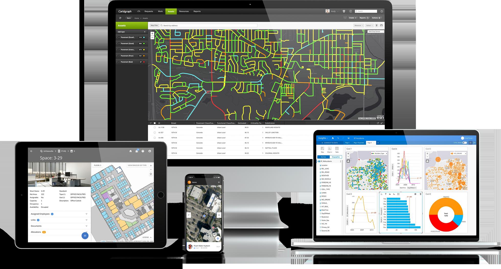 Cartegraph asset management, work order management, Cartegraph mobile app, Cartegraph space management, Esri Insights